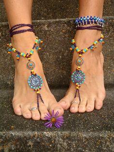EXOTIC Dancer BAREFOOT sandals WANDERLUST Anklets crochet Gypsy Sandals sole less shoes crochet anklets blue Barefoot Wedding