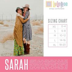 The Sarah, a lightweight and cozy cardigan, is long, hitting around mid calf, and features a cropped long sleeve for easy movement and a flattering silhouette. Lularoe Sarah Sizing, Lularoe Size Chart, Sarah Cardigan Lularoe, Lula Roe Outfits, Swimsuit Cover, Long Sweaters, Autumn Fashion, Spring Fashion, Ootd Fashion