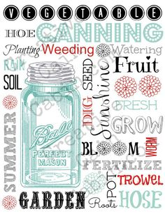 Garden Theme Word Art with Vintage Blue Ball Jar  FREE Printable ~ Creative Cain Cabin