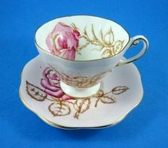 Handpainted Pink Rose on Pink Background Foley Tea Cup and Saucer Set