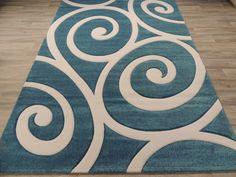 Teal And White Koru Design Modern Turkish Rug Size: 200 x Machine Made Rugs, Carpet Stairs, Living Room Modern, Carpet Runner, Modern Rugs, Rugs Online, Rug Size, Modern Design, Teal