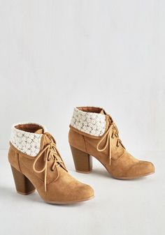 Trust My Imagination Bootie - Mid, Faux Leather, Tan, White, Embroidery, Casual, Good, Lace Up, Ankle