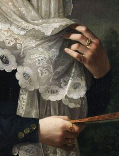 "Vicente Lopez y Portaña: (detail) Doña Gertrudis de Compte y de Bruga, oil on canvas. ""The challenge of rendering drapery fascinates me; and this being an intricately detailed lace inset, makes it even moreso. Exquisitely done. Classic Paintings, Beautiful Paintings, Hand Kunst, Illustration Art, Illustrations, Classical Art, Detail Art, Lace Detail, Renaissance Art"