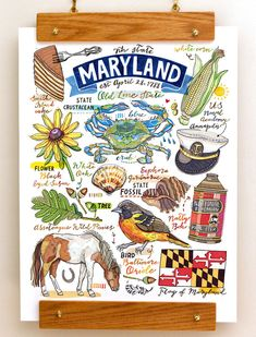 Name: Maryland State Print (portrait) This illustration is perfect for anybody who loves to celebrate their Maryland State pride! Print of my original illustration. Signed in pencil on the back. Printed on Epson Velvet Fine Art paper: a luxurious and sturdy 260gsm professional 100% cotton fiber paper. Sizes available: 8x10 11x14 13x19 Packaging: your print will be carefully packaged in a glassine sleeve, and protected between two cardboard sheets. Mailed USPS first class in a sturdy mail...