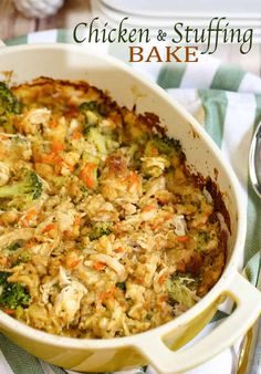 Lower Excess Fat Rooster Recipes That Basically Prime This Chicken Stuffing Bake Recipe Is A Hassle-Free 45 Minute Meal. With Chicken, Stuffing, Broccoli And A Few Other Simple Ingredients Its So Comforting.