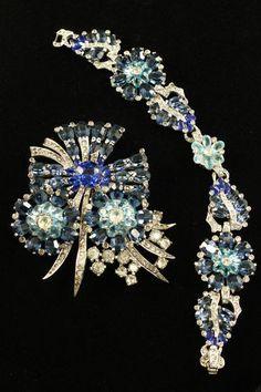 Vintage Signed Joseph Mazer Brooch Pin and Bracelet Set Shades of Blue   eBay