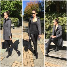 Say hello to Fall! We are loving shades of black and grey ;) | Coat from Banana Republic | Bag from Rebecca Minkoff | Heels from Steve Madden | Shades from Chanel | Tights from Top Shop | #fashion #fashionbloggers #blog #fashiocloset #style #outfit #ootd #trend #styleme #Fall2014 #FW2014 #totebag #Rebeccaminkoff #Bananarepublic #topshop #stevemadden #trench #leathertights #chunkyheels #boots #highbun #hair #glasses #chanel #lovethis #wantthis #inspire #create #wardrobe #Amarynthonline