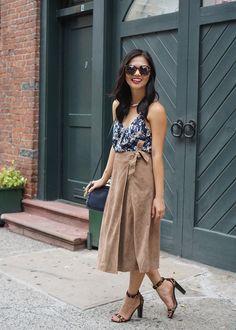 suede midi skirt, dark floral, leopard heels