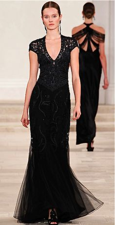 Spring or fall - dressy style - black gown with sparkle & lace inserts - Ralph Lauren