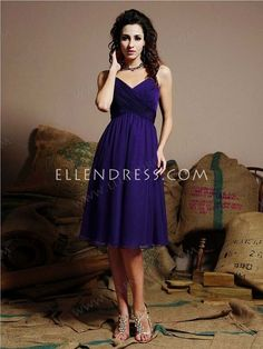 A-line Spaghetti Straps Sleeveless Knee-length Chiffon Party Dress #VJ042 - Cocktail Dresses - Special Occasion Dresses
