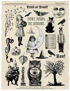 vintage halloween stamps. oxford impressions.