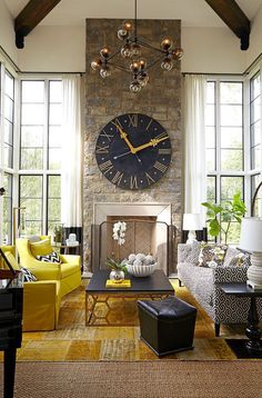 ideas to decorate a fireplace with an oversized clock in a living room with a vaulted ceiling