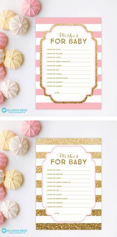 Gold Baby Shower wish card - Pink and Gold Baby Shower game - Gold Glitter wishes for baby card - Girl Baby Shower - Printable Game - DIY by EllisonReed on Etsy https://www.etsy.com/listing/223208248/gold-baby-shower-wish-card-pink-and-gold