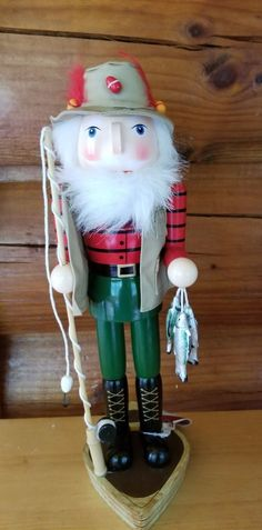 Nutcracker Fisherman Wood 15 in Wood Fishing Pole Fish Christmas Nutcracker NWT #HomeAccents