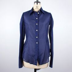 Silk Voile Tailback Shirt Navy now featured on Fab.