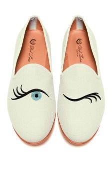 Prince Albert Bone Canvas Slipper Loafers With Winking Eye Embroidery by Del Toro for Preorder on Moda Operandi-SO quirky, LOVE THESE!!!!