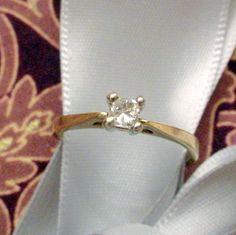 Estate Diamond Solitaire Engagement Ring Princess Cut by Zeppola