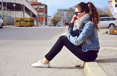 keds + cigarette pants + denim jacket + infinity scarf