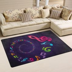 Yochoice Non-slip Area Rugs Home Decor, Vintage Colorful Music Note Floor Mat Living Room Bedroom Carpets Doormats 60 x 39 inches >>> Be sure to check out this awesome product. (This is an affiliate link and I receive a commission for the sales)