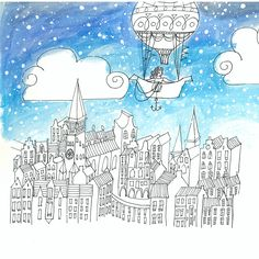 """Book """"A different kind of Neverland,"""" by Dieuwke Twyerould. About the illustration: """"To get to Neverland, you had to cross nine kingdoms by a hot air balloon..."""""""