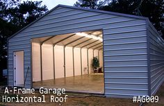 Get your A-Frame Garage at lowest prices. We offer A-frame horizontal-roof style garages build with the finest material. Coast To Coast Carports, Metal Garages, Steel Garage, Roof Styles, Wood And Metal, Windows And Doors, Garage Doors, Building, Frame