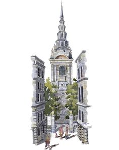 St Bride's #Church is a church in the City of #London, designed by Sir Christopher Wren in 1672.  Due to its location in Fleet Street it has a long association with journalists and newspapers. A Godless breed so I'm told :-)