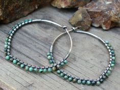 Sterling Silver Hoops, Oxidized Sterling Silver, African Turquoise, Petal Hoops, Wire Wrapped Hoops, Lightweight Jewelry, Wire Jewelry by BesoDelCorazon on Etsy https://www.etsy.com/listing/225999089/sterling-silver-hoops-oxidized-sterling #SterlingSilverHoops