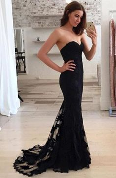 Ulass Black sweetheart neck lace train long prom dress, black evening dress sold by Ulass. Shop more products from Ulass on Storenvy, the home of independent small businesses all over the world.