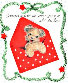 vintage Christmas puppy dog in envelope