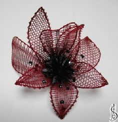 Flower for Martina  		   February 2017. Red, black and silver metallic thread, Swarovski crystals. 45 € ............................. Protected by copyright!