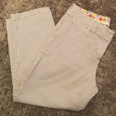 "Boden gray pinstripe ankle pants sz 4P Excellent condition! Inseam 21"" 97% cotton, 3% elastane. Size 4P Boden Pants Ankle & Cropped"