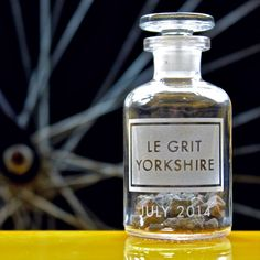 [legrityorkshire]  limited edition small etched apothecary bottle.  filled with grit from the roads of the tour de france.