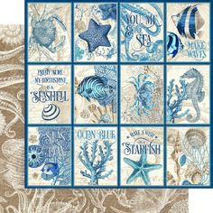 8 Sheets Graphic 45 Ocean Blue 12x12 Paper Collection 8 | Etsy Mixed Media Scrapbooking, Scrapbooking Ideas, Scrapbook Layouts, Journal Cards, Junk Journal, Journal Ideas, Journal Themes, Marianne Design, Cozumel