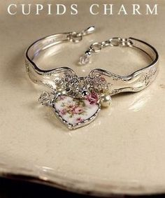Vintage Silver Spoon Bracelet with Broken China Charm by wendy