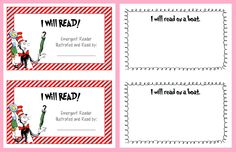 """Dr. Seuss/Cat in the Hat """"I will read..."""" Emergent Reader printable"""