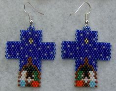 Cross Nativity Earrings Hand Made by wolflady on Etsy