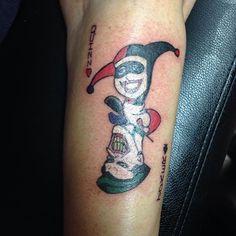 I did a tattoo then took a bunch of bad pictures. #joker #jokertattoo #harleyquinn #harleyquinntattoo #apprentice #apprenticetattoo