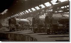 A brace of Peppercorn Pacifics rest in York roundhouse during Easter weekend Negative scan. Diesel Locomotive, Steam Locomotive, Steam Trains Uk, Gandy Dancer, Steam Railway, British Rail, Old Trains, Train Engines, London Transport