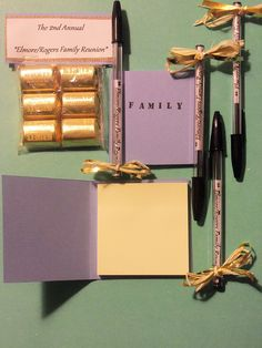 Reunion favors- simple post-it book from cardstock, goodie bag with personalized label, pens with paper inserts.