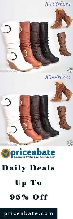 #Priceabate Cute Round Toe Slouch Buckle Wedge Mid Calf Boot Women's Shoes Size 5 -10 NEW - Buy This Item Now For Only: $23.79
