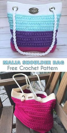 Beautiful summer bag, perfect both for a fancy meeting and for a beach. Washable shoulder bag, tote bag free crochet pattern.