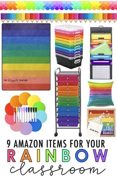 These 9 items for your rainbow theme classroom are all avail