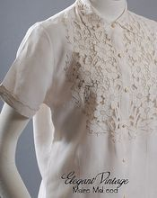 Exquisite 1950s Linen Blouse *Cutwork, Embroidery *Sm-Med
