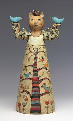 #1 ceramic figure, ( cat with tree of life ) by Sara Swink