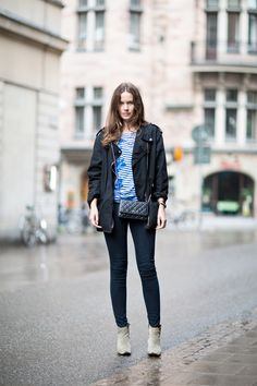 Jacket and boots from Isabel Marant, tee from Stella McCartney, bag from Chanel and jeans from J Brand.