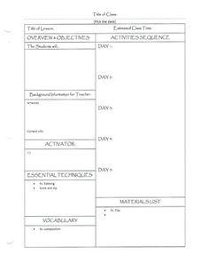 VISUAL ART Lesson Plan Template | Daily Lesson Plan Template 2 ...