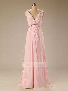 Pink Elegant Chiffon V-Neck with Floor Length Cheap Bridesmaid Dress Prom Dress Evening Dress