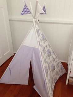 Lavender purple floral teepee/ tepee including by NestNFeather Kids Rooms, Nest, Lavender, Feather, Sewing, Purple, Floral, Crafts, Nest Box