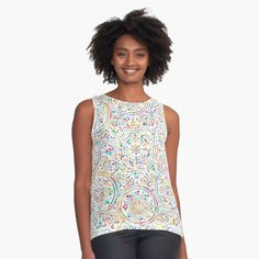 """""""Fractal Red/Orange/Pink Abstract Design"""" Sleeveless Top by Lekehs Rock And Roll, Moda Emo, Circle Pattern, Pattern Print, Grass Pattern, Spiral Pattern, Colour Pattern, Retro Pattern, Mandala Pattern"""