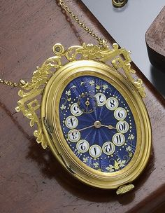 Antique Unusual Scarce Gold Oval Blue Enameled Dial Watch w Chain C 1890